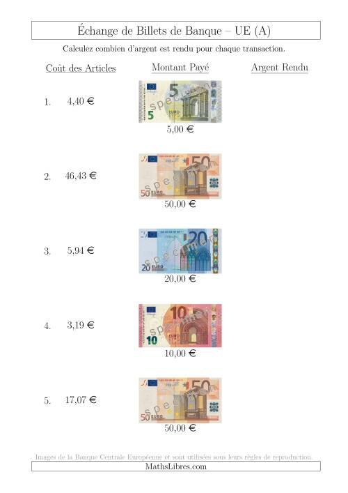 La Échange de Billets de Banque UE Jusqu'à 50 € (A) Fiche d'Exerccices sur la Monnaie