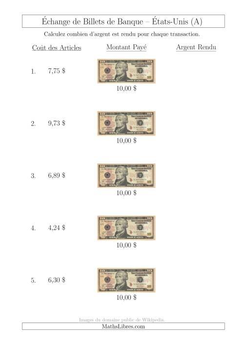 La Échange de Billets de Banque Américains de 10 $ (A) Fiche d'Exerccices sur la Monnaie
