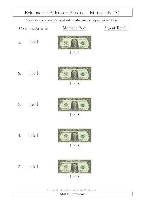 La Échange de Billets de Banque Américains de 1 $ (A) Fiche d'Exerccices sur la Monnaie