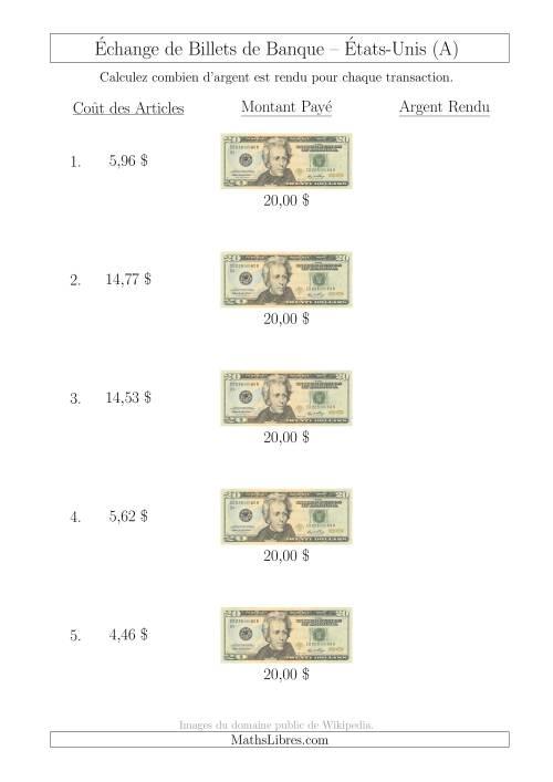La Échange de Billets de Banque Américains de 20 $ (A) Fiche d'Exerccices sur la Monnaie