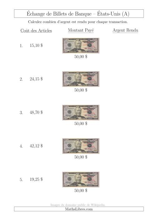 La Échange de Billets de Banque Américains de 50 $ (A) Fiche d'Exerccices sur la Monnaie