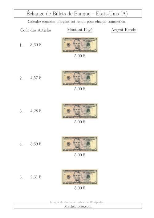 La Échange de Billets de Banque Américains de 5 $ (A) Fiche d'Exerccices sur la Monnaie