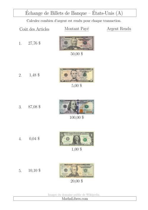 La Échange de Billets de Banque Américains Jusqu'à 100 $ (A) Fiche d'Exerccices sur la Monnaie