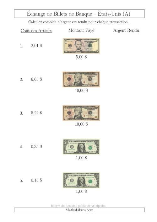 La Échange de Billets de Banque Américains Jusqu'à 10 $ (A) Fiche d'Exerccices sur la Monnaie