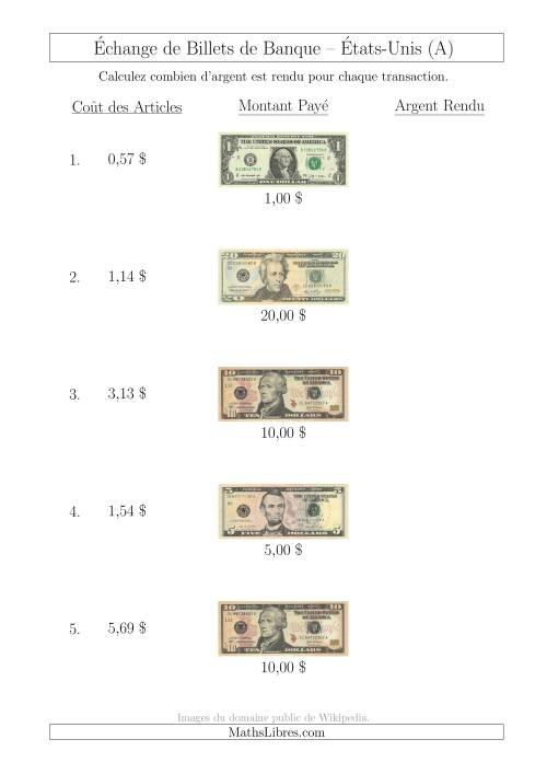 La Échange de Billets de Banque Américains Jusqu'à 20 $ (A) Fiche d'Exerccices sur la Monnaie