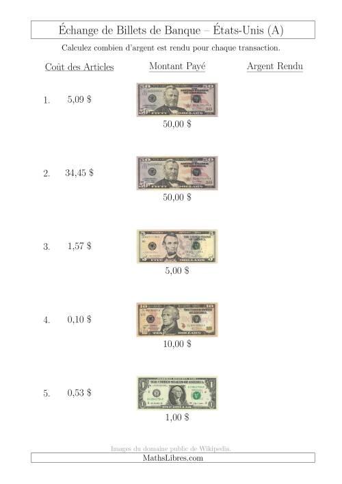 La Échange de Billets de Banque Américains Jusqu'à 50 $ (A) Fiche d'Exerccices sur la Monnaie