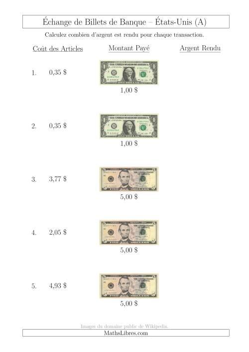 La Échange de Billets de Banque Américains Jusqu'à 5 $ (A) Fiche d'Exerccices sur la Monnaie
