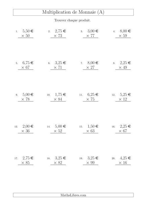 La Multiplication de Montants par Bonds de 1 Cent par un Multiplicateur à Deux Chiffres (€) (A) Fiche d'Exercices sur la Monnaie