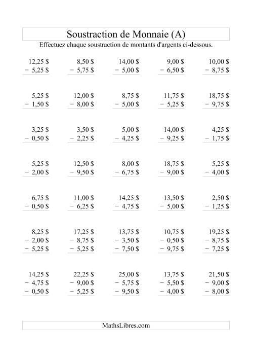 La Soustraction de monnaie jusqu'à 10$ -- Bonds de 0,25$ (A) Fiche d'Exercices sur la Monnaie
