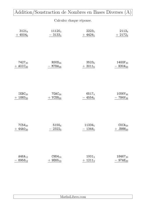 La Addition et Soustraction des Nombres en Bases Diverses (A) Fiche d'Exercices sur les Opérations Mixtes
