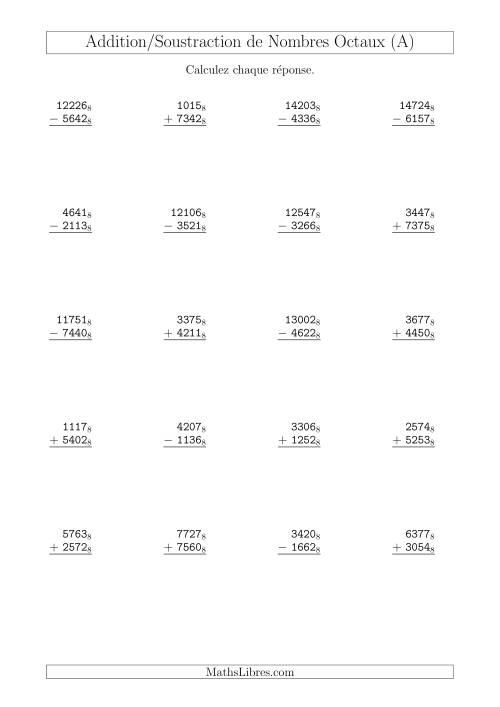 La Addition et Soustraction des Nombres Octaux (Base 8) (A) Fiche d'Exercices sur les Opérations Mixtes