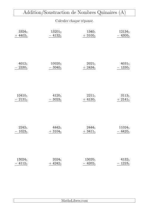 La Addition et Soustraction des Nombres Quinaires (Base 5) (A) Fiche d'Exercices sur les Opérations Mixtes