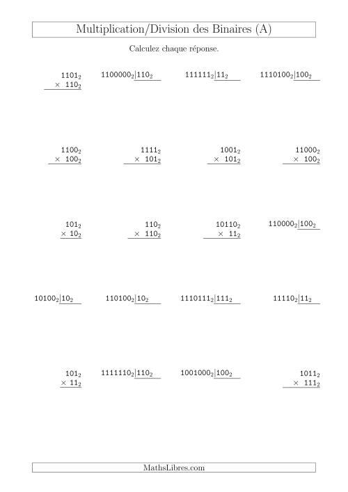La Multiplication et Division des Nombres Binaires (Base 2) (A) Fiche d'Exercices sur les Opérations Mixtes