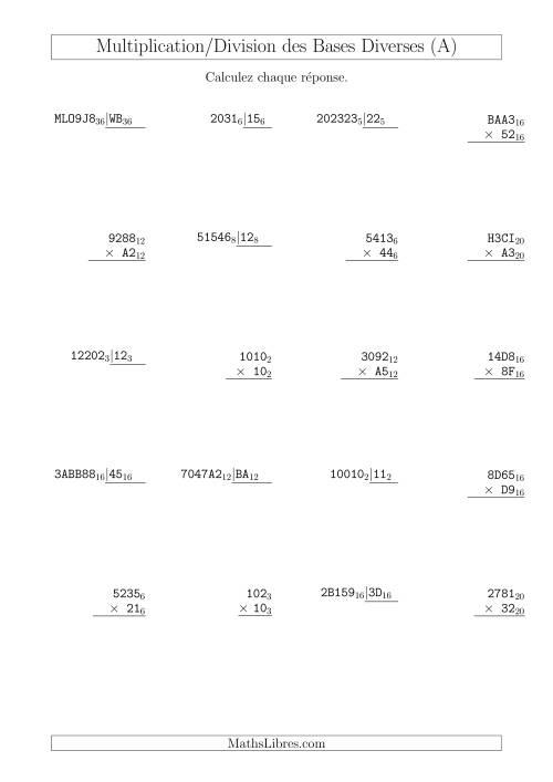 La Multiplication et Division des Bases Diverses (A) Fiche d'Exercices sur les Opérations Mixtes