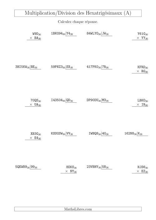 La Multiplication et Division des Nombres Hexatrigésimaux (Base 36) (A) Fiche d'Exercices sur les Opérations Mixtes