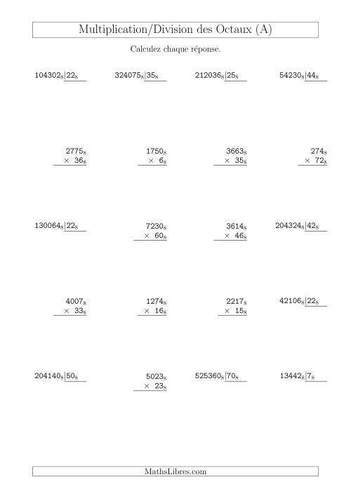 La Multiplication et Division des Nombres Octaux (Base 8) (A) Fiche d'Exercices sur les Opérations Mixtes