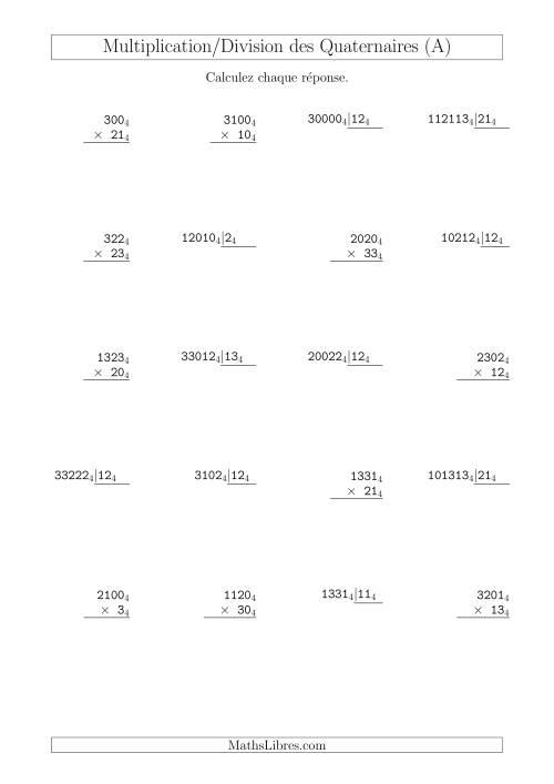 La Multiplication et Division des Nombres Quaternaires (Base 4) (A) Fiche d'Exercices sur les Opérations Mixtes