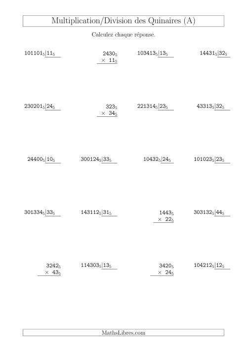 La Multiplication et Division des Nombres Quinaires (Base 5) (A) Fiche d'Exercices sur les Opérations Mixtes