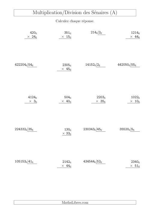 La Multiplication et Division des Nombres Sénaires (Base 6) (A) Fiche d'Exercices sur les Opérations Mixtes