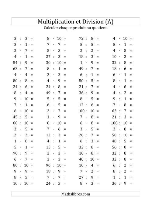 La 100 Questions sur la Multiplication/Division Horizontale de 1 à 10 (A) Fiche d'Exercices sur les Opérations Mixtes