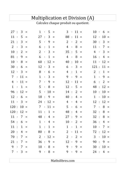 La 100 Questions sur la Multiplication/Division Horizontale de 1 à 12 (A) Fiche d'Exercices sur les Opérations Mixtes