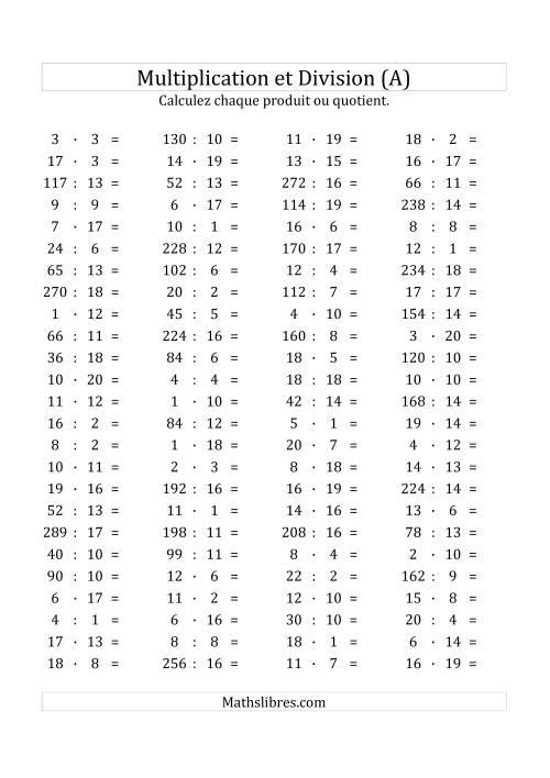 La 100 Questions sur la Multiplication/Division Horizontale de 1 à 20 (A) Fiche d'Exercices sur les Opérations Mixtes