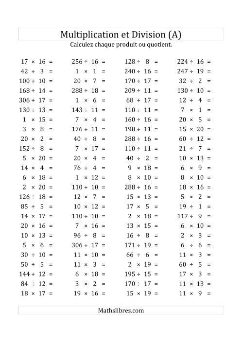 La 100 Questions sur la Multiplication/Division Horizontale de 1 à 20 (USA & Canada) (A) Fiche d'Exercices sur les Opérations Mixtes