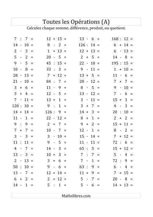 La 100 Questions sur Toutes les Opérations Horizontales de 0 à 15 (A) Fiche d'Exercices sur les Opérations Mixtes
