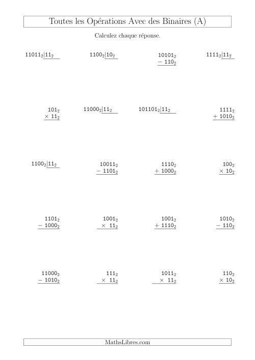 La Toutes les Opérations avec des Nombres Binaires (Base 2) (A) Fiche d'Exercices sur les Opérations Mixtes