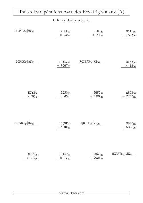 La Toutes les Opérations avec des Nombres Hexatrigésimaux (Base 36) (A) Fiche d'Exercices sur les Opérations Mixtes