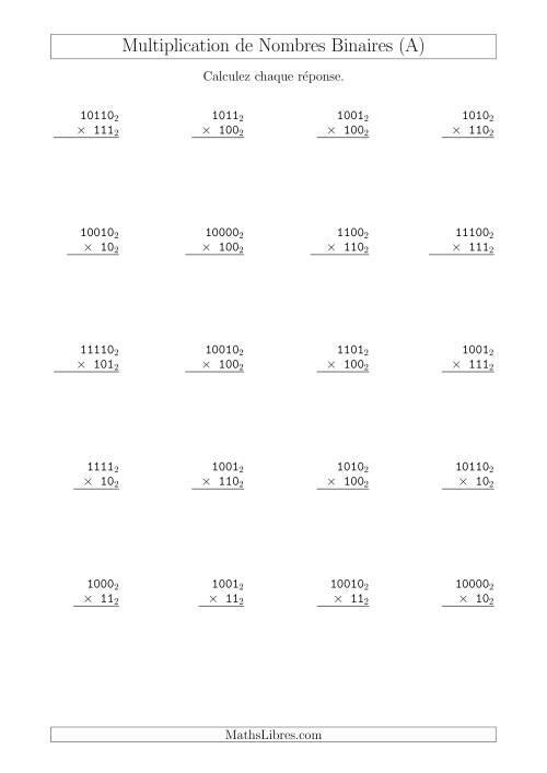 La Multiplication de Nombres Binaires (Base 2) (A) Fiche d'Exercices sur les Opérations Mixtes