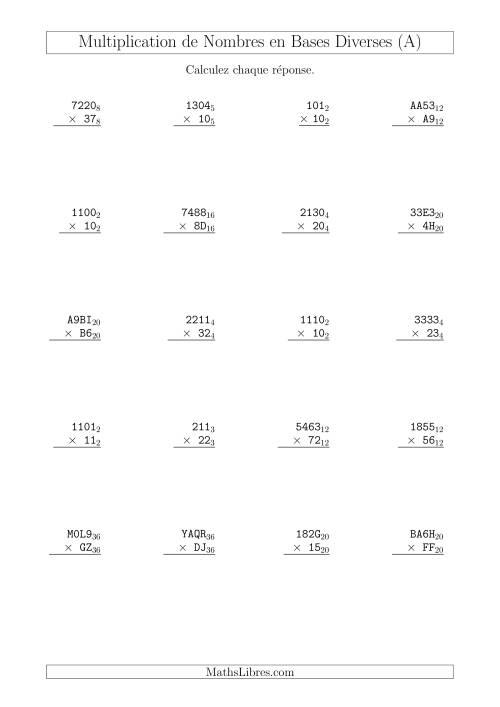 La Multiplication de Nombres en Bases Diverses (A) Fiche d'Exercices sur les Opérations Mixtes