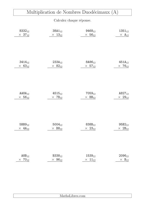 La Multiplication de Nombres Duodécimaux (Base 12) (A) Fiche d'Exercices sur les Opérations Mixtes