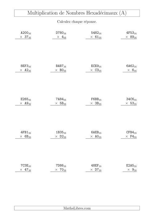 La Multiplication de Nombres Hexadécimaux (Base 16) (A) Fiche d'Exercices sur les Opérations Mixtes