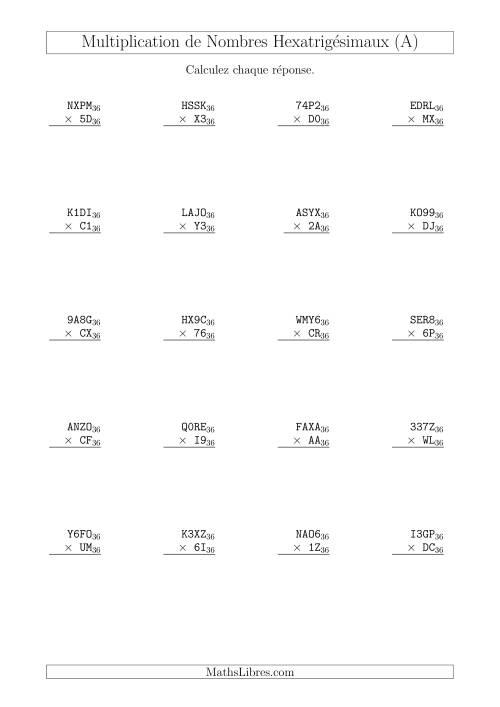 La Multiplication de Nombres Hexatrigésimaux (Base 36) (A) Fiche d'Exercices sur les Opérations Mixtes