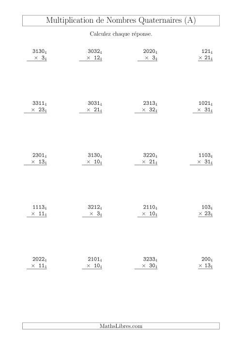 La Multiplication de Nombres Quaternaires (Base 4) (A) Fiche d'Exercices sur les Opérations Mixtes