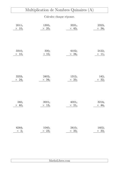 La Multiplication de Nombres Quinaires (Base 5) (A) Fiche d'Exercices sur les Opérations Mixtes
