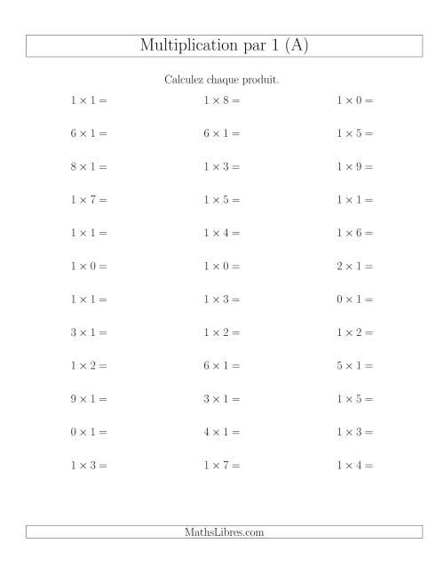 La Règles de Multiplication Individuelles -- Multiplication par 1 -- Variation 0 à 9 (A) Fiche d'Exercices de Multiplication