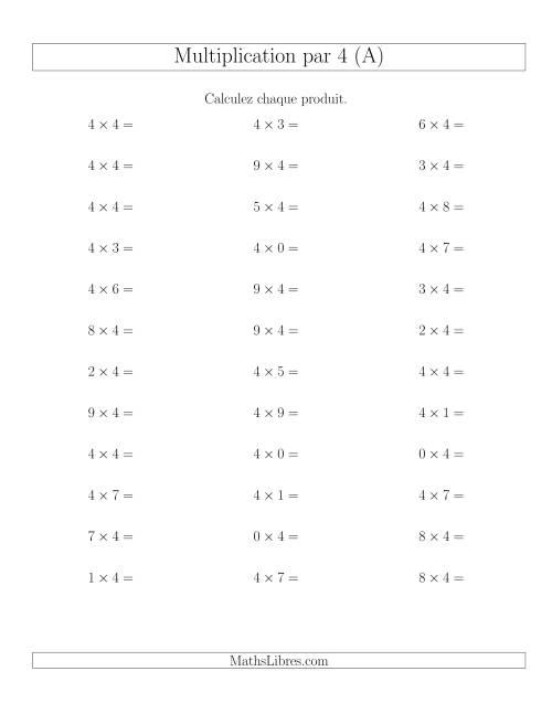 La Règles de Multiplication Individuelles -- Multiplication par 4 -- Variation 0 à 9 (A) Fiche d'Exercices de Multiplication