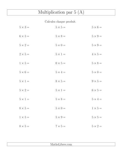 La Règles de Multiplication Individuelles -- Multiplication par 5 -- Variation 0 à 9 (A) Fiche d'Exercices de Multiplication