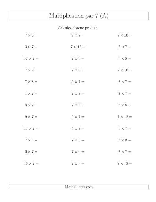 La Règles de Multiplication Individuelles -- Multiplication par 7 -- Variation 0 à 12 (A) Fiche d'Exercices de Multiplication
