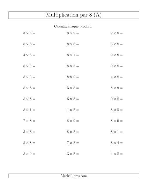 La Règles de Multiplication Individuelles -- Multiplication par 8 -- Variation 0 à 9 (A) Fiche d'Exercices de Multiplication