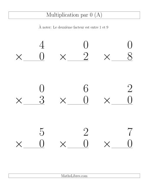 Multiplication par 0 (Variation 1-9)