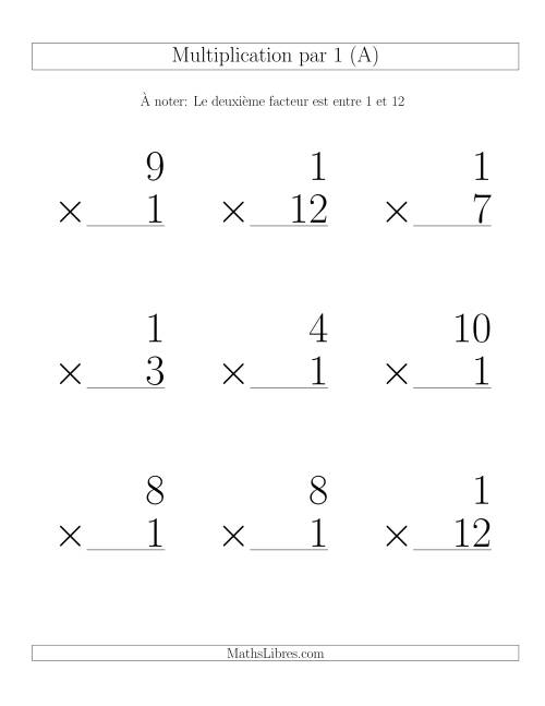 Multiplication par 1 (Variation 1-12)