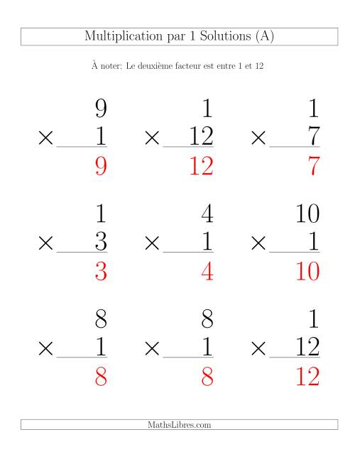 Multiplication par 1 (Variation 1-12) page 2