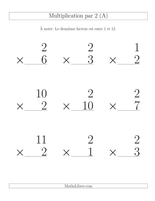 Multiplication par 2 (Variation 1-12)