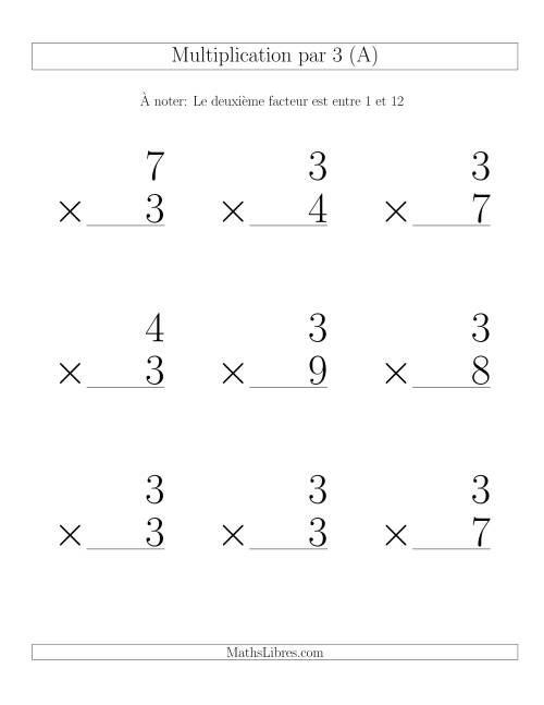 Multiplication par 3 (Variation 1-12)