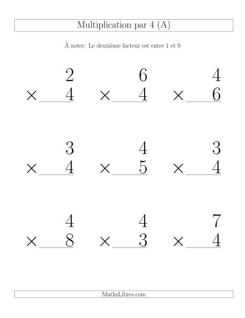 Multiplication par 4 (Variation 1-9)
