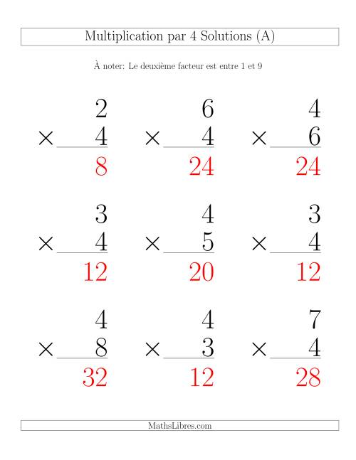 Multiplication par 4 (Variation 1-9) page 2