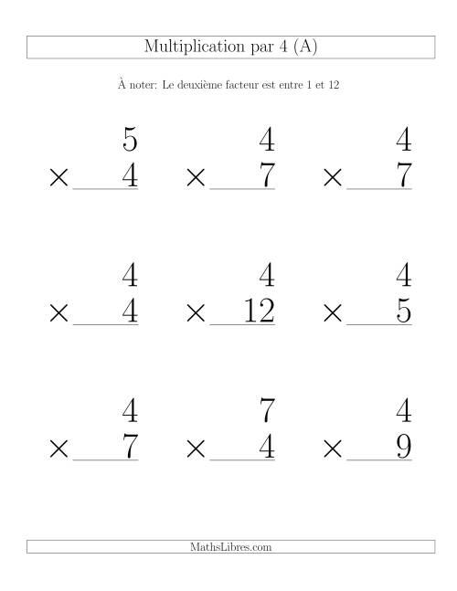 Multiplication par 4 (Variation 1-12)
